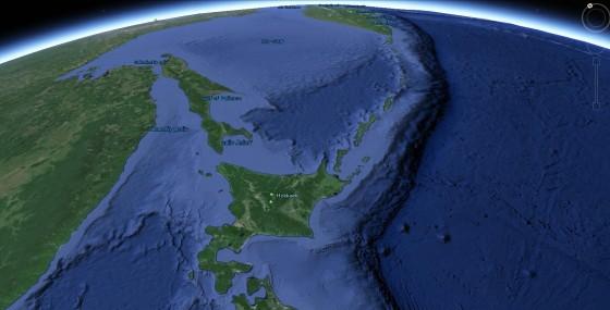 北海道と千島列島 from GoogleEarth