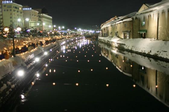 イベント「小樽雪あかりの路」期間中の小樽運河