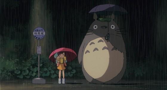 となりのトトロ バス停でトトロに傘を貸すシーン