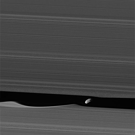 土星の環と羊飼い衛星ダフニス(Daphnis) NASA公式サイトより引用