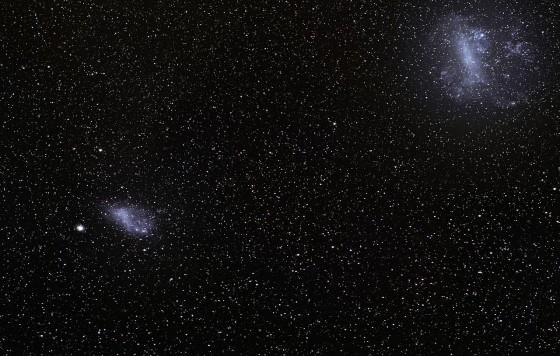 小マゼラン雲(左)と大マゼラン雲(右)の位置関係