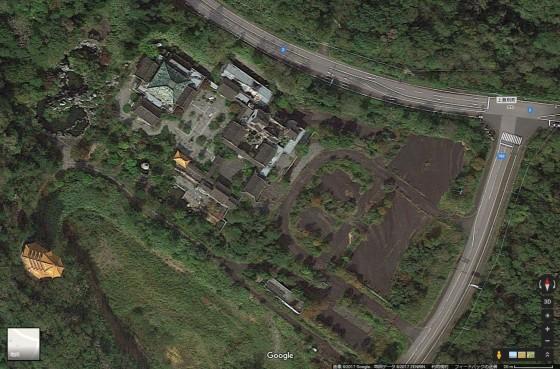 登別市・旧天華園の衛星写真 (Googlemapより引用)