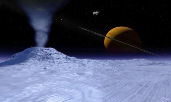 土星の衛星・エンケラドスのイメージ図  Wikipediaより引用