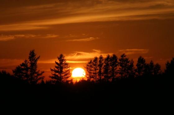 斜里町で撮影した夕陽 2011年(だったかな・・・)